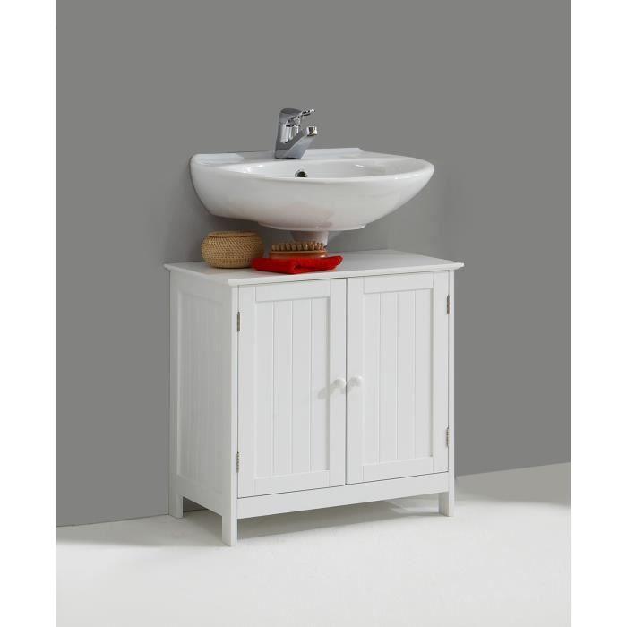 Meuble sous lavabo contemporain blanc Fidusine L 60 x H 60 x P 35 cm ...