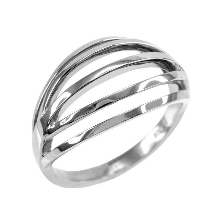 Bague Femme Solide 14 Ct Or Blanc Couches