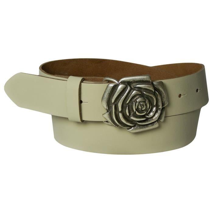Ceinture pour femme en cuir véritable 4 cm, boucle florale, boucle à fleur,  boucle à rose, ceinture de jean, rose, 25fa92a56bb