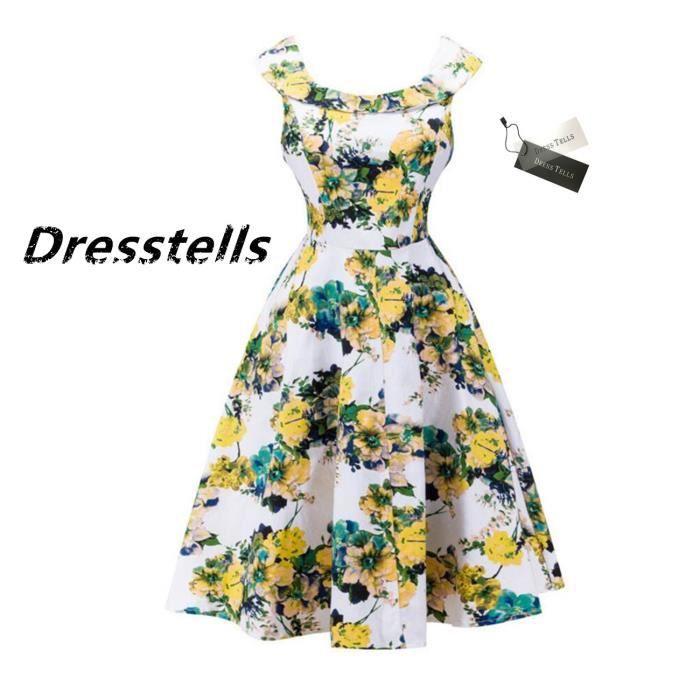 Dresstells Femme Robe Vintage rétro Audrey Hepburn robe de soirée cocktail années 50 col en U