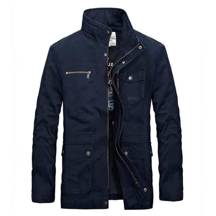 blouson homme en coton mi saison casual veste col montant v tement multi poches bleu bleu. Black Bedroom Furniture Sets. Home Design Ideas