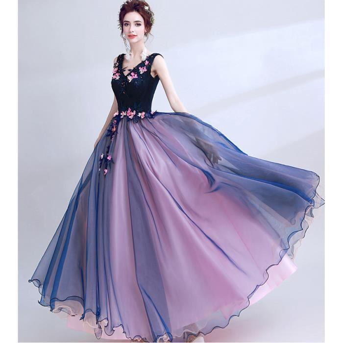 Robe longue de princesse femmes pour c r monie mariage for Nettoyage de robe de mariage milwaukee