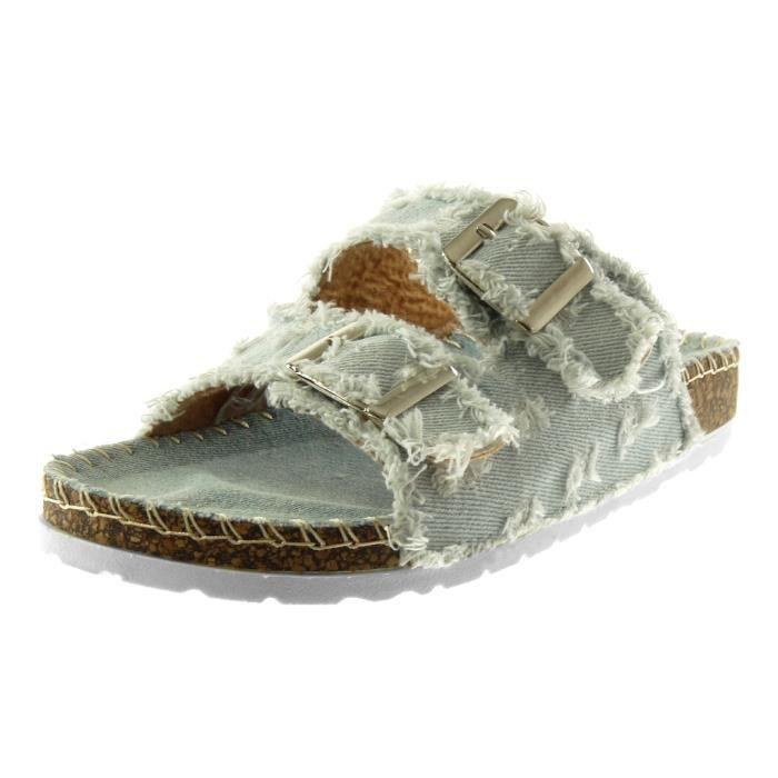 Angkorly - Chaussure Mode Sandale Mule slip-on Jeans Denim femme effiloché déchiré boucle Talon compensé 2.5 CM - Bleu clair - S27 LFDjT7Gj