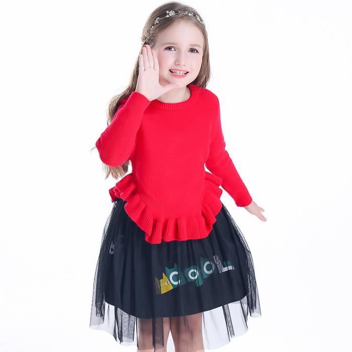 9b7217265aa5c Robe Hiver Filles Mode Casual Tricoter Manches Longues O-cou Rouge ...