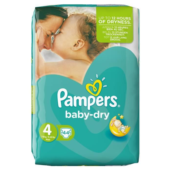 pampers couches baby dry maxi taille 4 de 7 18 kg 44. Black Bedroom Furniture Sets. Home Design Ideas