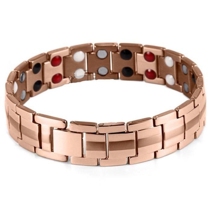Bracelet magnétique titane cuivre 13,8 cm