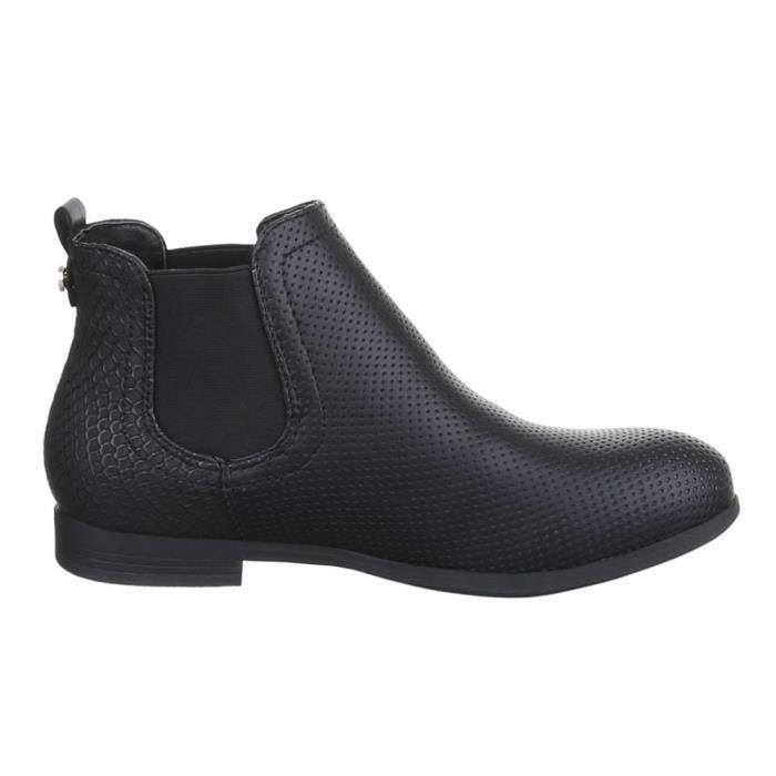 Femme bottillonn chaussure légèrement fourrée bottes Noir