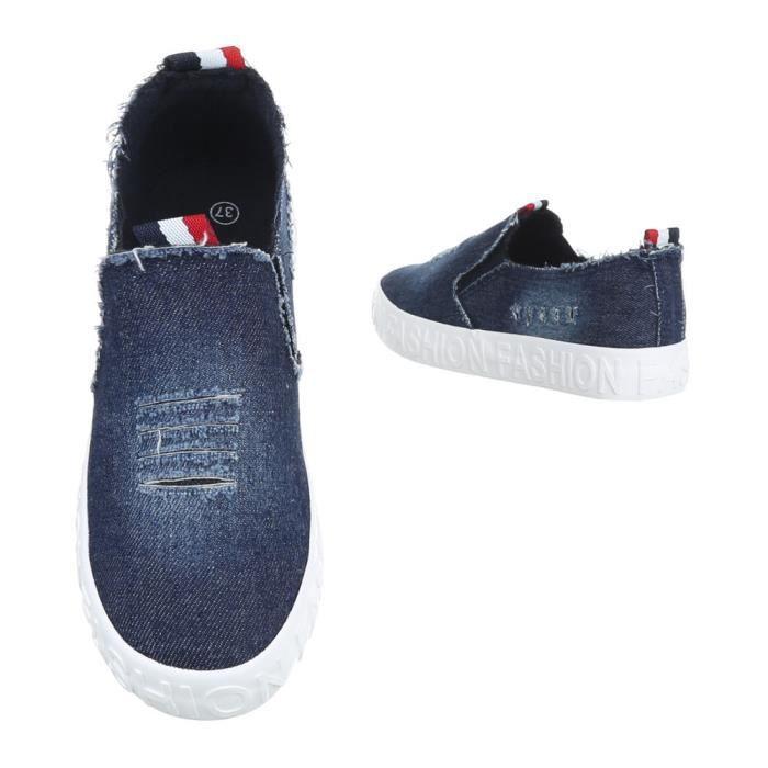 Femme chaussures flâneurs Slipper bleu 41