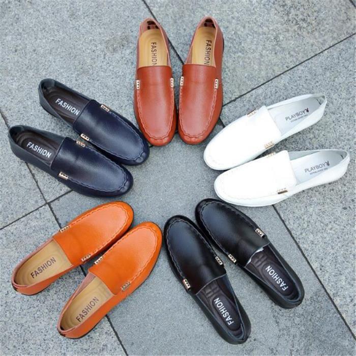 Mocassin Hommes Ete Comfortable Mode Detente Chaussures DTG-XZ75Bleu43