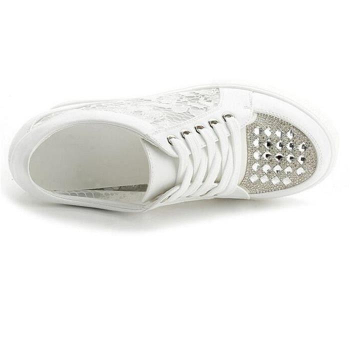 Chaussure Compensee Femme Basket Augmentation De La Hauteur Grande Taille Populaire XFP-XZ110Blanc40