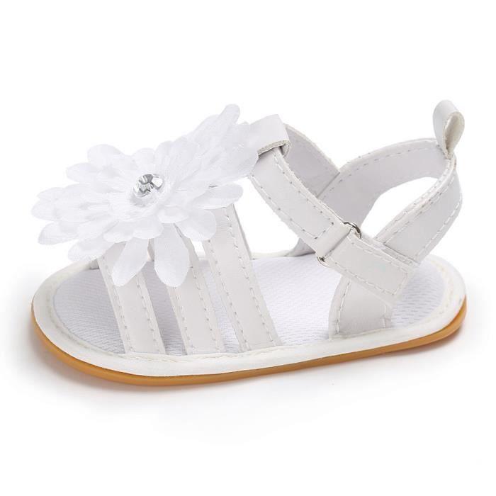 BOTTE Toddler Summer Girl Crib Fleur Chaussures Doux Semelle Nouveau-Né Anti-slip Bébé Sneaker@BlancHM bO4J7t7KW