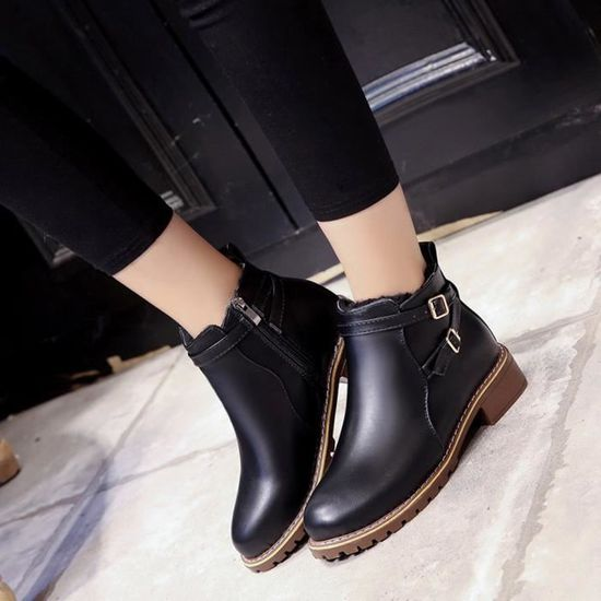Chaussures Noir Vintage Boots Pachasky®femmes Motorcycle Casual Automne Xym61214901bk36 Femme Hiver xIzqzHwf