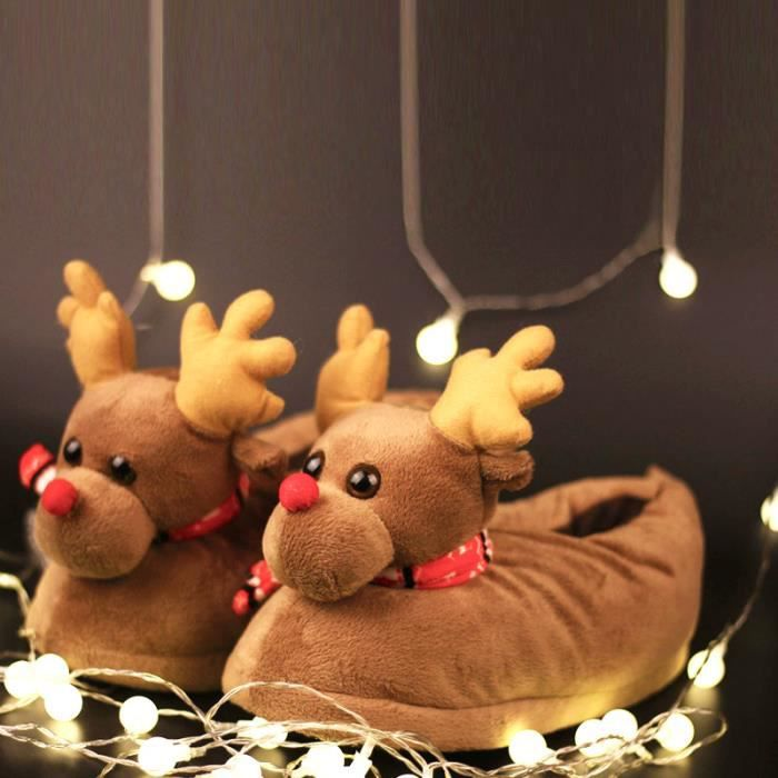 Pantoufles Femmes Hommes en peluche Hiver Cerf de Noël Adulte Chaussons doux et chauds Populaire BJXG-XZ140Marron35