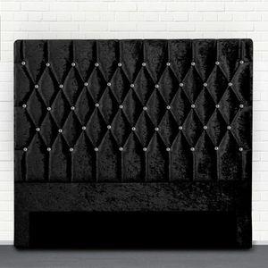 TÊTE DE LIT Tête de lit capitonné avec strass FOCUS - Noir - 1
