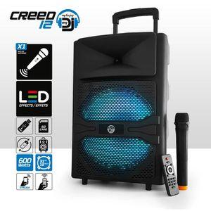 ENCEINTE ET RETOUR Enceinte sono batterie - Effet LED RVB - 600W - US