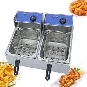 FRITEUSE ELECTRIQUE Friteuse en acier inoxydable 20L 5000W - Double fr