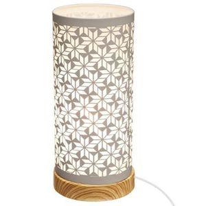 LAMPE A POSER Lampe cylindre touche géométrique en fer et bois c