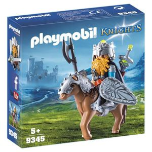 FIGURINE - PERSONNAGE PLAYMOBIL 9345 - Knights - Combattant nain et pone