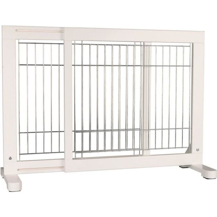 TRIXIE Barrière de sécurité - 65-108x61x31 cm - Blanc - Pour chien
