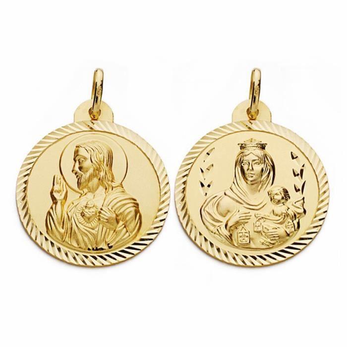 Médaille pendentif 26mm en or 18 carats Scapulaire Vierge Carmen Coeur de Jésus [AA2467]