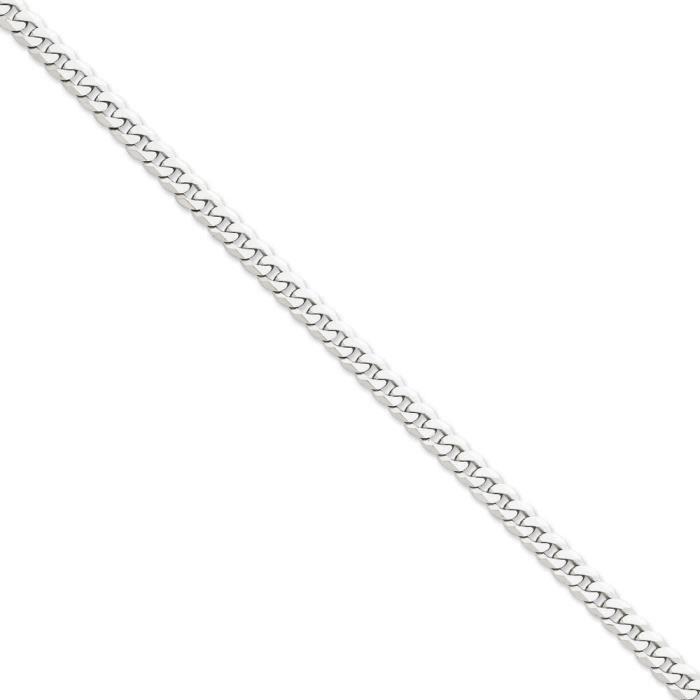 Or blanc 14ct 6,1 mm cJ chaîne mailles plates - 50,8 cm-mousqueton