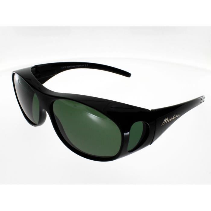 SUR-LUNETTES MONTANA FO1D, noir brillant, polarisées Adulte - Protection 100% UV 400 - Indice 3