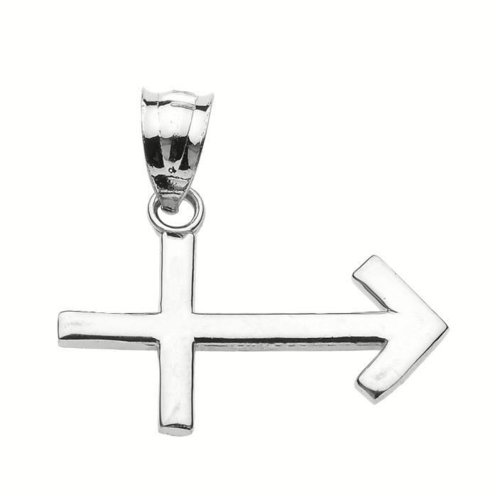 Collier Pendentif 10 ct Or Blanc Scontacteurs Décembre Zodiac(Vient avec une chaîne de 45 cm)