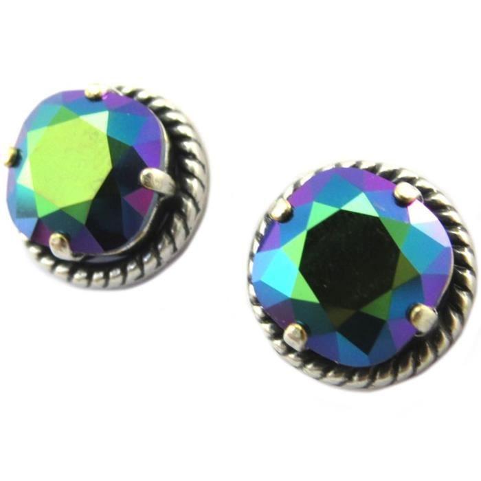 Boucles doreilles artisanales Tsarine vert scarabée argenté - 12 mm [P5145]