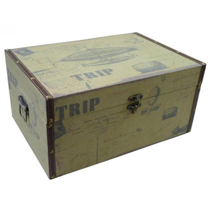 petite malle valise caisse jouets boite rangement bagage tapiss voyage bois et tissu 14 5x19x29. Black Bedroom Furniture Sets. Home Design Ideas