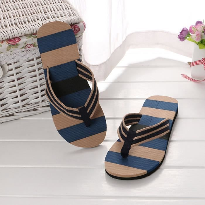 deuxsuns®Hommes chaussures d'été couleurs mélangées sandales pantoufles mâles intérieures ou extérieures tongs