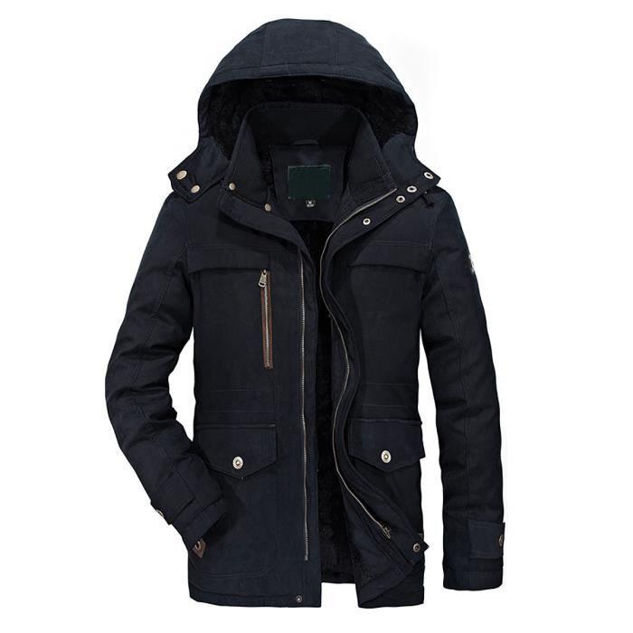 Hiver bleu Veste Outdoor Jacket Kaki vert Mens Blouson Homme Chaud Manteau Capuche Parka Militaire OW5RfFZ