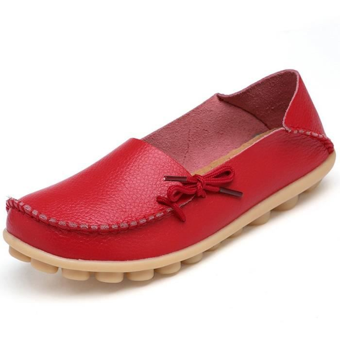 Women' S Leather Loafers Casual Moccasin Driving Outdoor Shoes Indoor Flat Slip-on Slippers FJ0L4 Taille-40 1-2