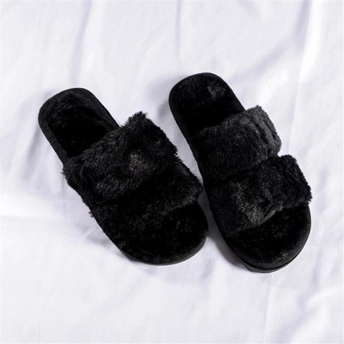 Femme Chausson Mode Hiver décontractées Chaussons Fond plat Peluche courte charmant Chaud Chaussures Confortable 36-41