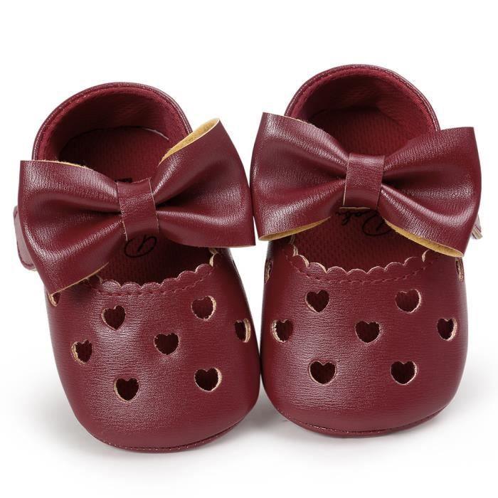 BOTTE Bébé fille évider Bowknot chaussures Casual chaussures Sneaker anti-dérapant chaussures souples@BourgogneHM