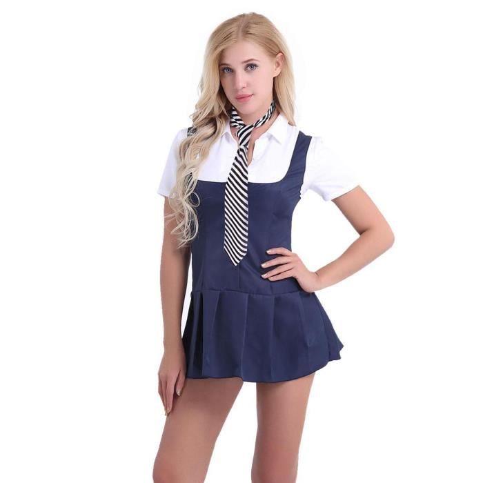 df23e540490 Robe Sexy Femmes Adultes - style écolière étudiante manches courtes  Fantaisie à rayures tissu doux