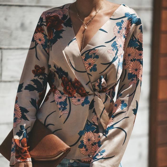 Longues Femmes Bllouse V Débardeurs wll8590 La Imprimer cou shirt Mode T Manches 0EqEr