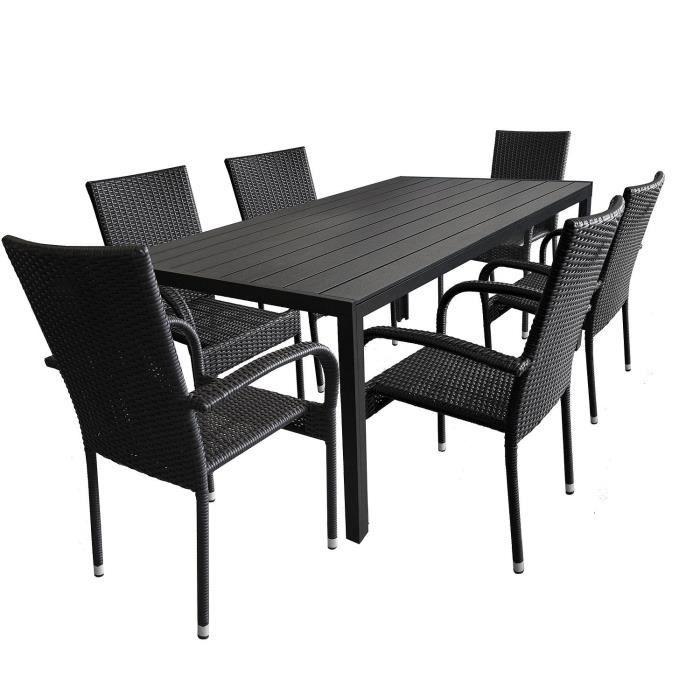 2er Set Aluminium à dossier haut chaise de jardin textiles entoilage Anthracite Noir