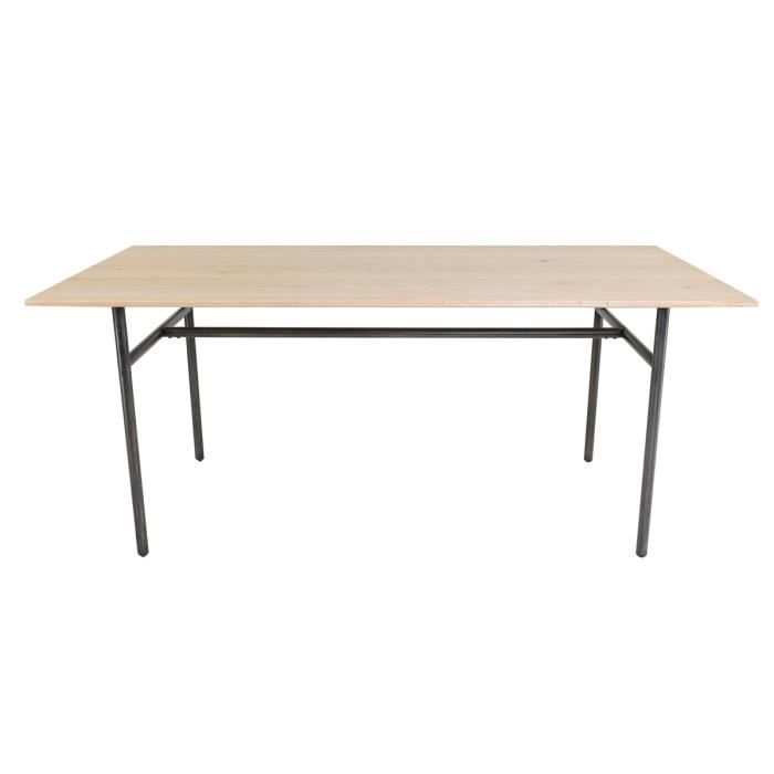 Table Chene Et Metal.Table Repas Chene Et Metal Rectangulaire 180 Cm Frequency