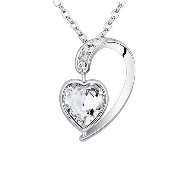 Bijoux / Fantaisies Pendentif Coeur en Cristal de Swarovski Elements Blanc U