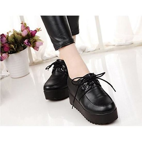 Retro Punk Britannique Tomwell Chaussures forme Goth Plat Femmes Femme Plate Style Shoes Lace Up HnFfqf