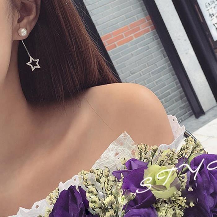 Bijoux mode 2018224 boucle doreille perle des femmes de style pompon de luxe en argent blanc