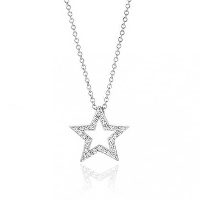 Bling Jewelry en argent Sterling 925 patriotique CZ Pendentif étoile ouvert 16in