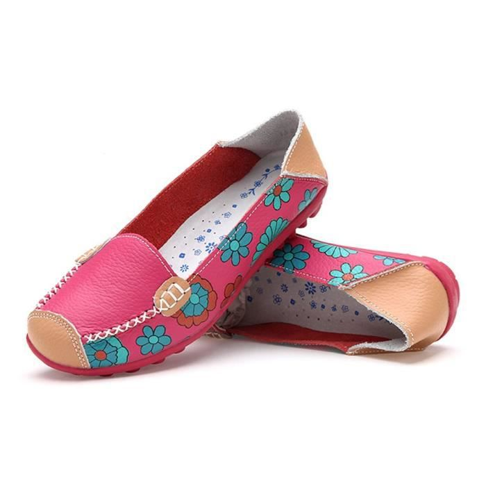Womens Cowhide Floral Print Flat Casual Slip On Driving Loafer Shoes FECL2 Taille-40