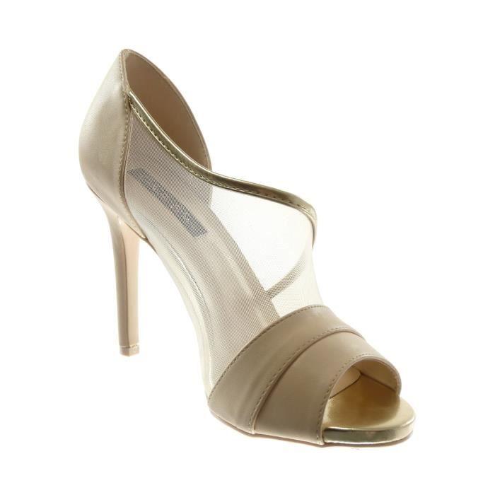 Angkorly - Chaussure Mode Escarpin sandale stiletto slip-on Peep-Toe femme tulle Talon haut aiguille 10 CM - Beige - L6109 T 39