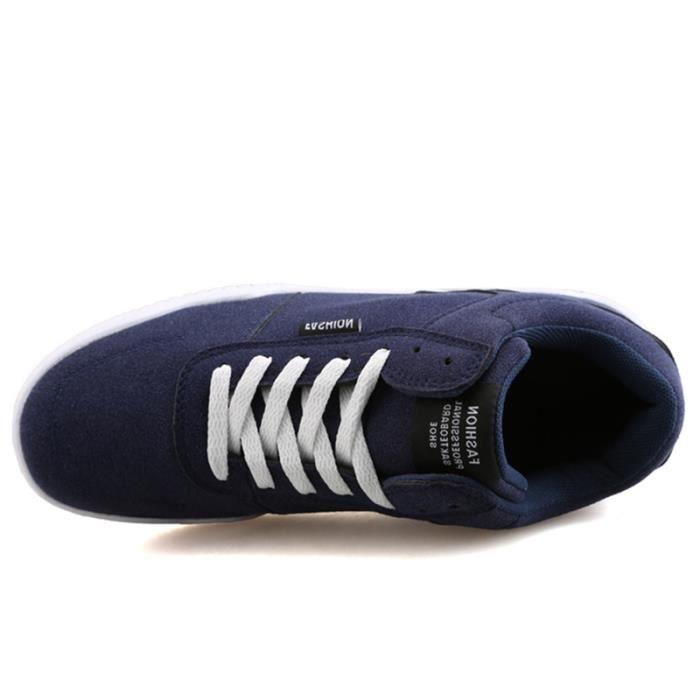 Chaussures De Sport Pour Hommes en daim Textile De Course Populaire LLT-XZ126Bleu42 Kd54LW