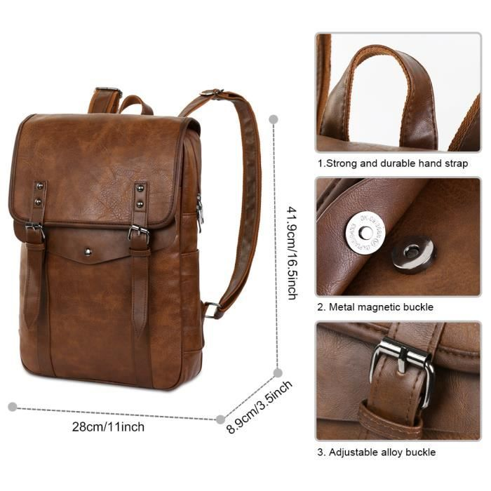 Vbiger Hommes Vintage PU cuir Sac à dos pour ordinateur portable Sac à dos école Bookbag pour hommes, Brown