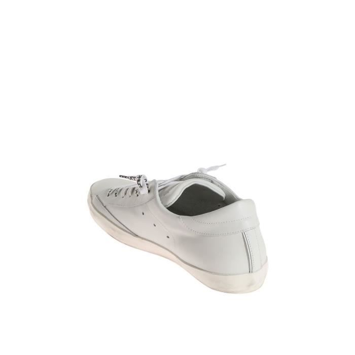 PHILIPPE MODEL HOMME CLLUV007 BLANC CUIR BASKETS MopVZ