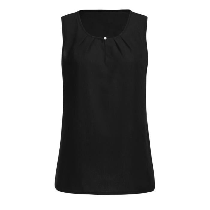Rond Sans T Sexy Cool En Soie Tops Chemisier Manches De Vrac Les Débardeur shirt Mousseline Femmes 3174 Col 18wYYP