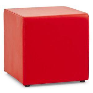 POUF - POIRE Pouf carré PORTICI en PU rouge