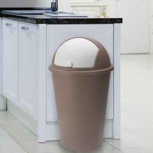 POUBELLE - CORBEILLE Poubelle 50 litres Taupe - couvercle basculant - 6